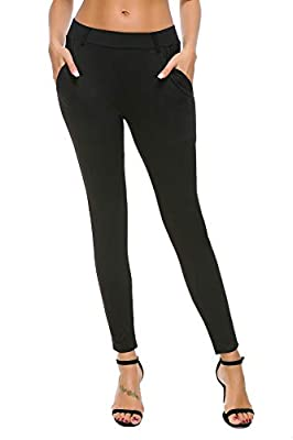 Bamans Women's Yoga Dress Pants Tummy Control Pull On 4 Way Stretch Skinny Slim Leggings