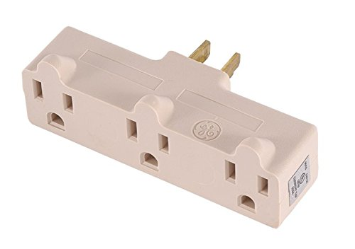 GE 54203 Heavy Duty 3-Grounded Outlet Adapter, Light Almond