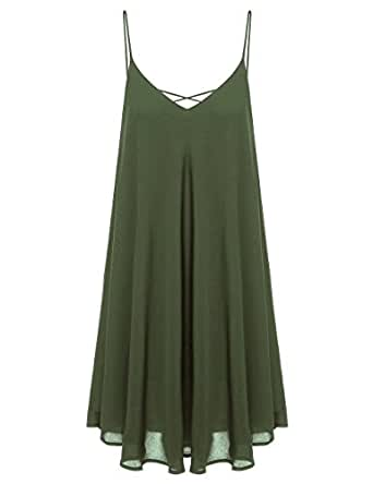 ROMWE Women's Summer Spaghetti Strap Sundress Sleeveless Beach Slip Dress Army Green XS