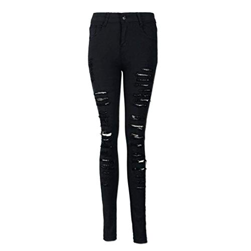 Lápiz Ripped Colour Alta Denim Botones Cintura Jeans Estiramiento De Pantalones Flaco Mujeres Delgado Sólidos Colores Casuales Exqnwv4ZF