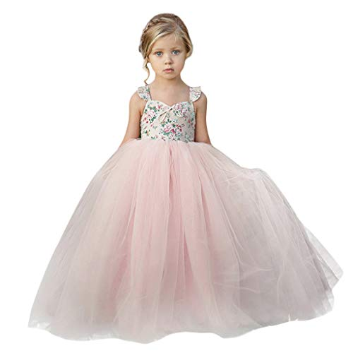 ❤️ Mealeaf ❤️ Baby Girls Ball Gown Gauze Sleeveless Bow Princess Flower Girl Pageant Wedding Party Long Dresses 0-7Years -