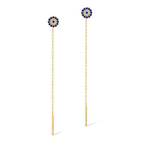 14k Solid Gold Evil Eye Hamsa Dangle Stud Earrings - Gold Earrings for Women - Gelin ()