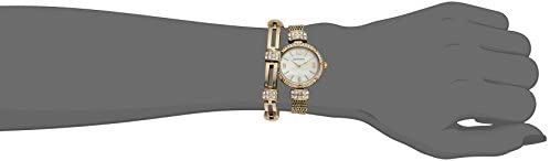 Armitron Women's 75/5548MPGPST Swarovski Crystal Accented Gold-Tone Mesh Watch and Bracelet Set