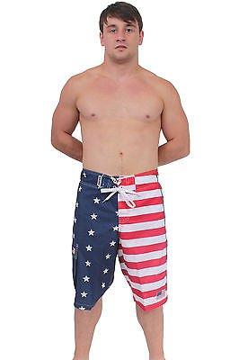 [Patriotic American USA FLAG Board Shorts/Swim Trunks MEDIUM] (Confederate Flag Halloween Costume)