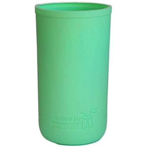 MJL Pint & Half Silicone Sleeve for Ball Mason Jars (Mint Green, 2 Pack)