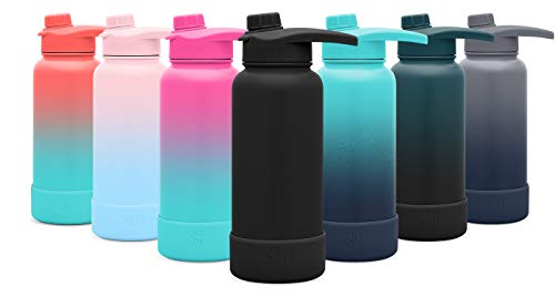 Simple Modern 40oz Summit Water Bottle with Chug Lid & Protective Boot - Hydro Vacuum Insulated Flask 18/8 Stainless Steel Powder Coated - Midnight Black