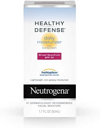 Neutrogena Healthy Defense Daily Vitamin C & Vitamin E Face Moisturizer, Non-Greasy Anti Wrinkle Face Lotion & Neck Cream with SPF 50 Sunscreen - Vitamin C, Vitamin E, Multivitamin Complex, 1.7 fl. oz