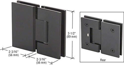 CRL Matte Black Geneva Series 180 Degree Glass-to-Glass Standard Hinge