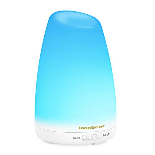 InnoGear 150ml Aromatherapy Essential Oil Diffuser Ultrasonic Cool Mist Aroma Room Freshener with 7 Color LED Night Lights and Waterless Auto Shut-Off Function (White) ()