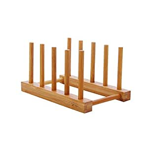 BESTONZON Bamboo Wooden Dish Holder Drainboard Drying Drainer Storage Holder Stand for Dish/Plate/Bowl/Cup/Pot Lid/Book(18.5 x 12 x 10 cm)