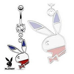 Official Licensed Playboy Clear Crystal Red White & Blue Bunny Belly Bar Thickness : 1.6mm Length : 10mm Material : Surgical Steel ()