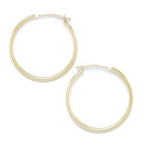 salida para la venta 14ct de oro amarillo de 21 21 21 mm pendientes de aro rojoondo - JewelryWeb  el precio más bajo