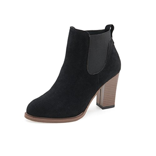 Fheaven Autumn Winter Boots Square High Heel Ankle Booties Abkle Knot Winter Warm Shoes (China size:37(US:6.5), Black)