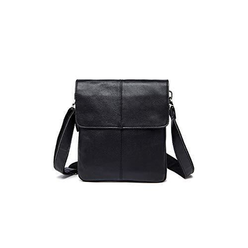 Messenger Bag Men's Leather Shoulder Bag Leather Small Flap Crossbody Handbags,N8006A3Black