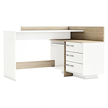 Eckschreibtisch holz weiß  Eckschreibtisch grau sonoma eiche weiß Holz Computertisch ...