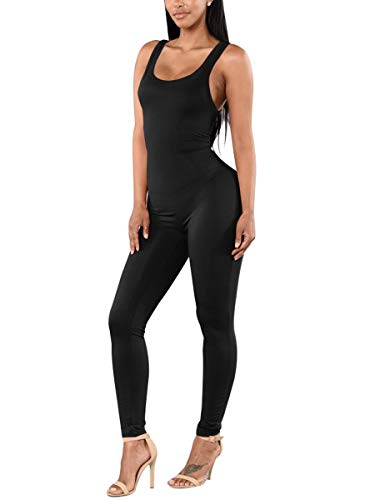 Spandex Rompers Plus Size Jumpsuits for Women Soft Body Suit Tops Black Catsuit XXL]()
