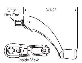 - Window Operator Handle, Crank Type, Folding, White, 5/16