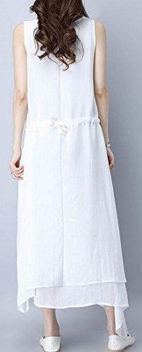 Irregular Dress Jaycargogo Women's White Print Ink Linen Maxi Cotton Sleeveless vvBxwpIP