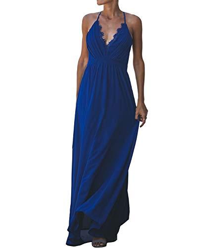 Auxo Women Maxi Dress Boho Sundress V Neck Lace Strappy Open Back Long Summer Dresses Blue Small