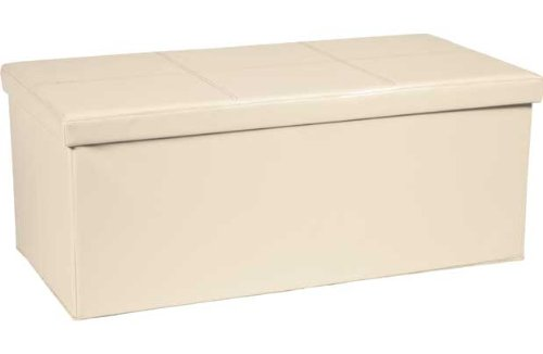 Extra Large Leather Effect Ottoman Stitching Detail - Cream. Unbranded