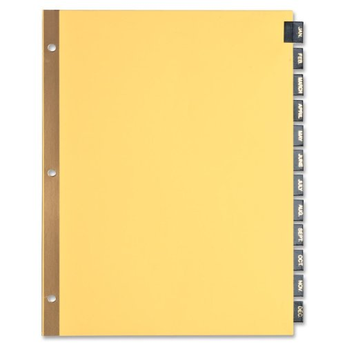 Business Source Monthly Black Leather Tab Index Dividers