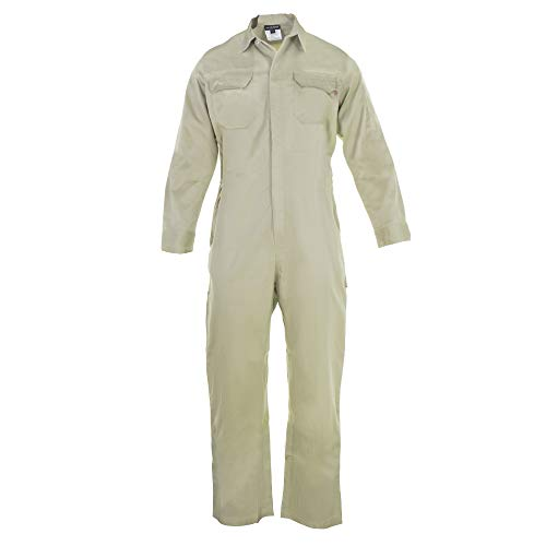 Just In Trend ǀ Flame Resistant FR Coverall - 88% C / 12% Nylon (Large, Khaki) -