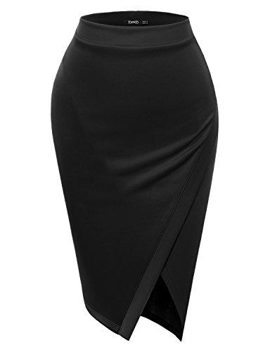 Womens Ladies Black Skirt (TWINTH Womens High Waist Keyhole Ladies Skirts)