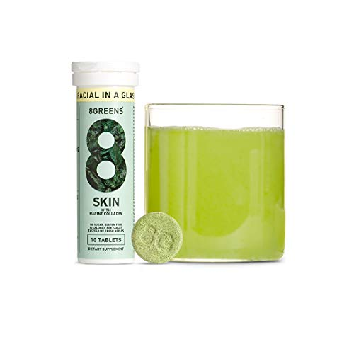 8Greens Skin + Marine Collagen for Beautiful Skin – Effervescent Super Greens Dietary Supplement – 8 Essential Healthy…