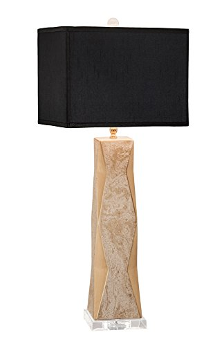 Thumprints 1218-ASL-2090 Geo Gold Lacquer Marbled Black Rectangle Shade Table Lamp, White Overglaze Finish -