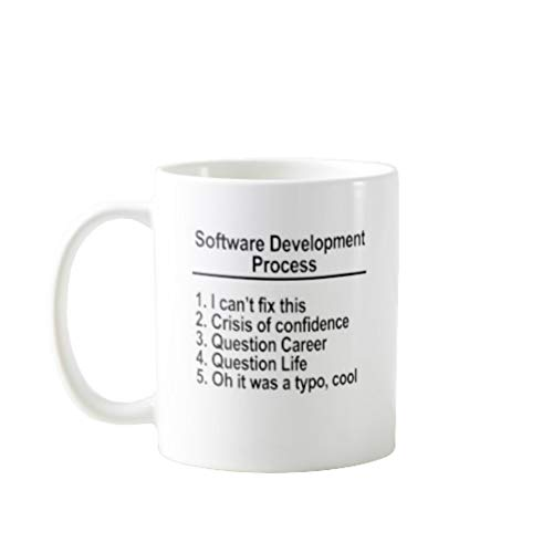11OZ PREMIUM PORTABLE COFFEE MUGS FUNNY - SOFTWARE DEVELOPMENT PROCESS I CAN`T FIX THIS CRISIS OF CONFIDENCE QUESTION CAREER - GIFT IDEAL FOR MEN, WOMEN, MOM, DAD, TEACHER, BROTHER OR SISTER #6727