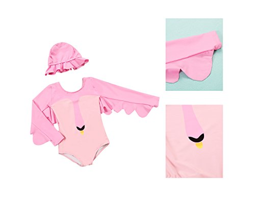 Delight Girls Swimsuits Long Sleeve Baby Girls Swimwear One Piece Clothing Pink 3-4 Years by Delight (Image #1)