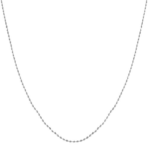 Kooljewelry 14k White Gold Diamond-Cut Bead Ball Chain Necklace (0.8 mm, 16 inch)