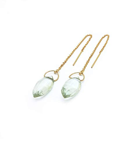 Green Amethyst Prasiolite Gold Filled Gemstone Threader Earrings, Amethyst Dangle Earrings for Women