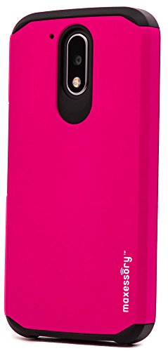 Motorola G4 Case, Moto G4 Plus Case, Maxessory Hot Pink Globetrotter Heavy-Duty Protective Hybrid Cover w/Durable Shock-Absorbing Full-Body Protective Tough Hard Shell ()