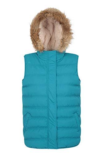 Mountain Warehouse Chaleco Acolchado Fir para Mujer – Impermeable, cálido y Agradable, Piel sintética, con Capucha…