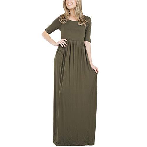 - Garish Women's Fashion Solid O-Neck Half Sleeve Plus Size Loose Solid Long Dress Two Pocket Maxi Dress Green