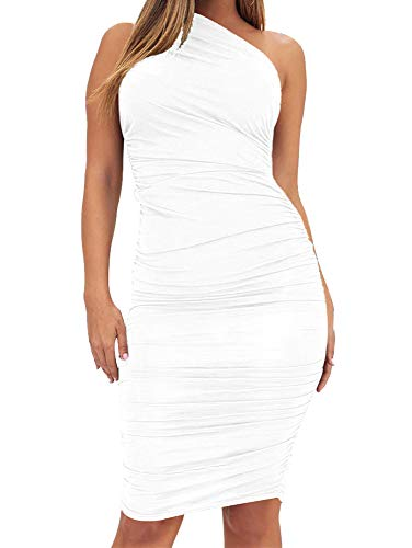 TOB Women's Sexy Bodycon Ruched One Shoulder Sleeveless Club Knee Length Dress White
