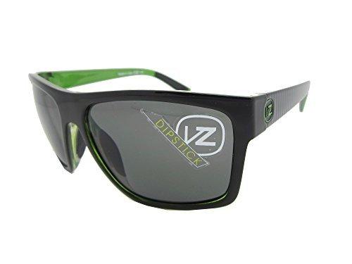 VonZipper Mens Dipstick Lux Sunglasses, Lux Green Metallic Satin Black - Zipper Green Von Sunglasses