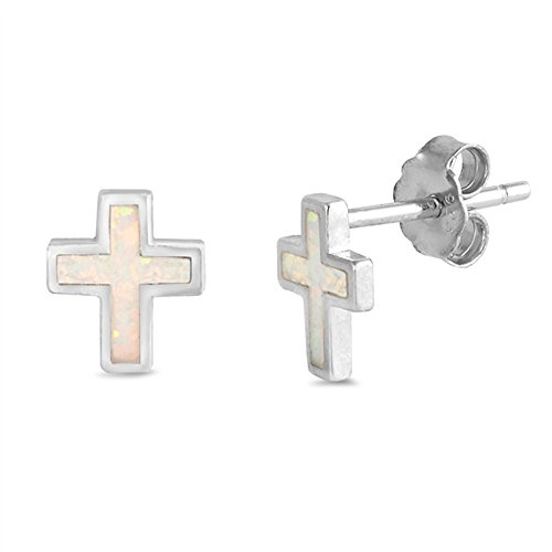 Lab Created White Opal Cross .925 Sterling Silver Earrings SEO5733