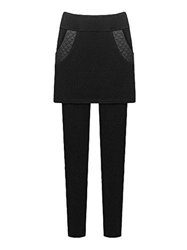 Gooket Womens Skirt Leggings Winter Thick Fleece Lined Leggings Pant Leather Trim Pockets Mini Skirt