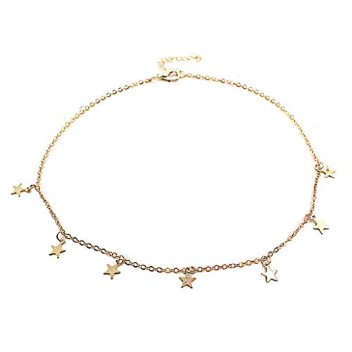 doublelovely Boho Chocker Chain Tassel Star Choker Necklace for Women Necklaces & Pendants Collar Gold -