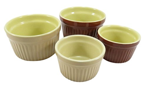 Round Ceramic Ramekin Souffle 2 and 5 fl oz Brown Beige (Set of 4) by Daiso