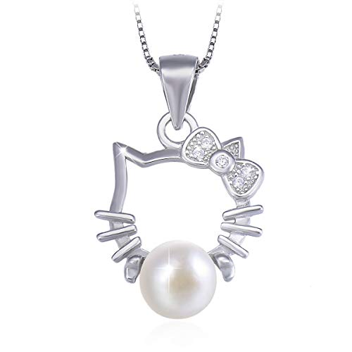 PEARLOVE Cute Kitty Freshwater Pearl Pendant Necklace, 925 Sterling Silver Cartoon Clavicle Necklace for Women, Jewelry Gift Box Packaging