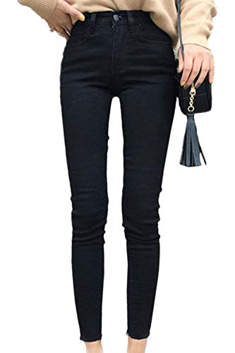 Unie Haute Couleur Bouton En Stretch Taille Schwarz Long Fit Skinny De Pantalon Slim Jean Mode OPTkiXZu