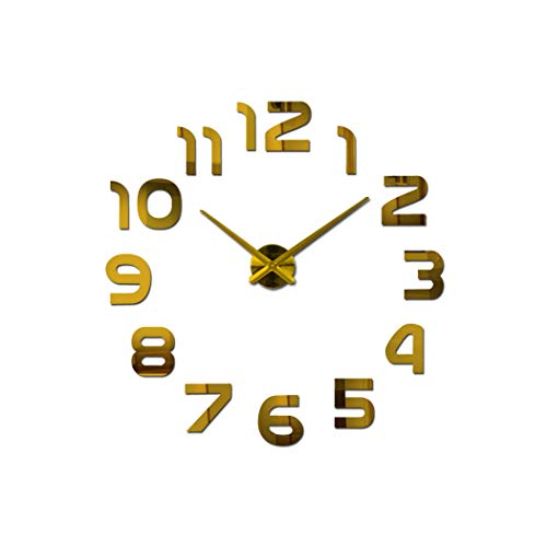 Wall Clock 3D Wall Clock Design Large Acrylic Mirror Clocks Stickers Living Room Accessories Decorative House Clock On The Wall,Gold,37 Inch