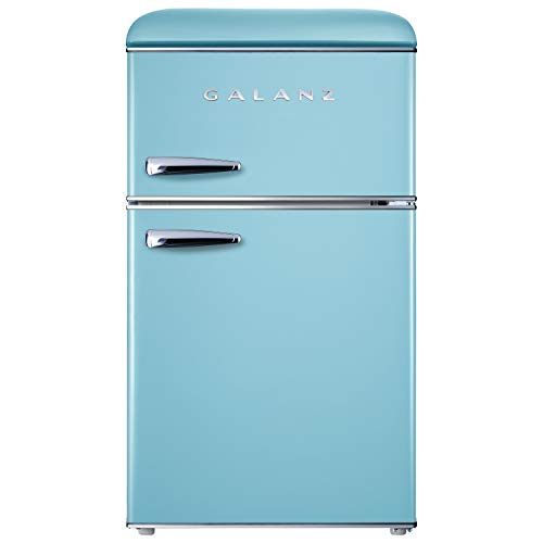 Galanz GLR31TBEER Retro Compact Refrigerator, Mini Fridge with Dual Doors, Adjustable Mechanical Thermostat with True…