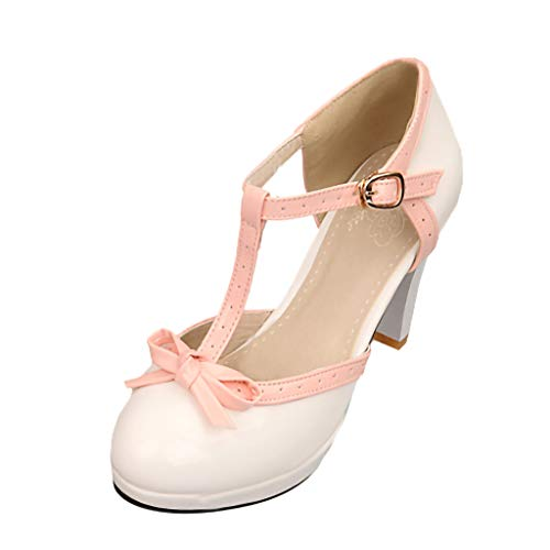 (Toimothcn Mary Jane Dress Women's Round Toe T-Strap Mid Heel Princess Pumps Shoes(White,US:6.5) )