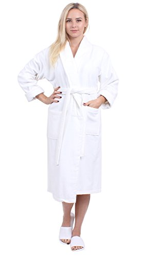 Turkuoise Women's Turkish Cotton Terry Velour Shawl Bathrobe(5000-WHT-SM) Cotton Terry Velour Shawl