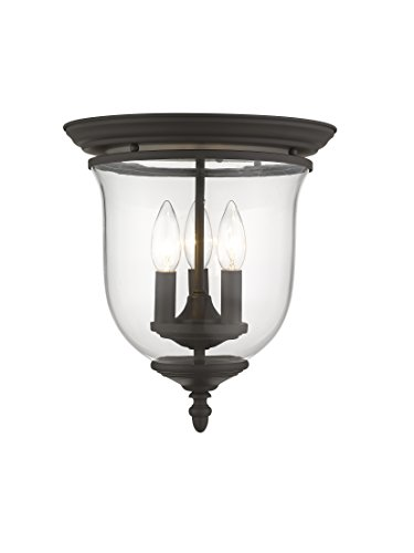 Legacy Ceiling Flush - Livex Lighting 5021-07 Legacy 3 Light Bronze Flush Mount with Clear Glass