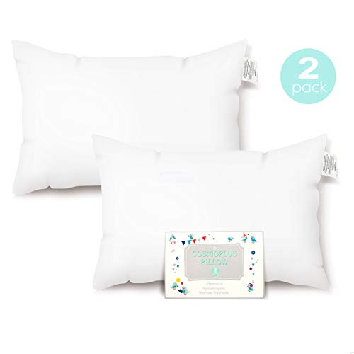 COSMOPLUS Toddler Pillow-2 Pack Toddler Pillows,13x18 Inches with Cotton Shell,Soft, Supportive, Washable Design for Boys & Girls Kids